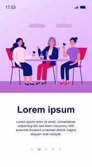 Gelukkige vriendinnen opknoping in café illustratie