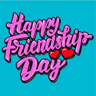 Gelukkige vriendschap dag. belettering zin met hartvormen. illustratie