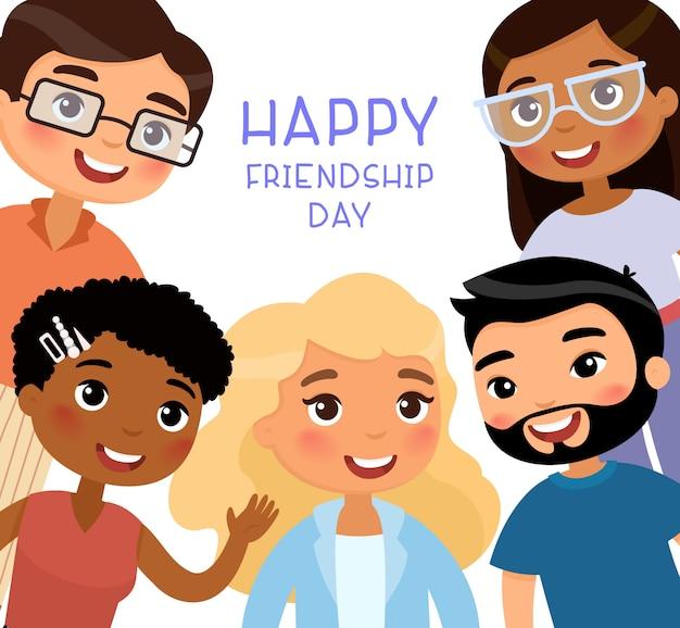 Gelukkige vriendschap dag. multinationale jongevrouwen en jonge mannenvrienden.