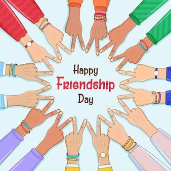 Gelukkige vriendschapsdag een cirkel van handen die vredestekens maken overwinningsteken onder een blauwe hemel handen tot eenheid en teamwork succes helpt bedrijfsconcept