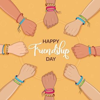 Gelukkige vriendschapsdag vrienden met stapel handen die eenheid en teamwerk tonen bovenaanzicht mensen die hun handen in elkaar slaan Premium Vector