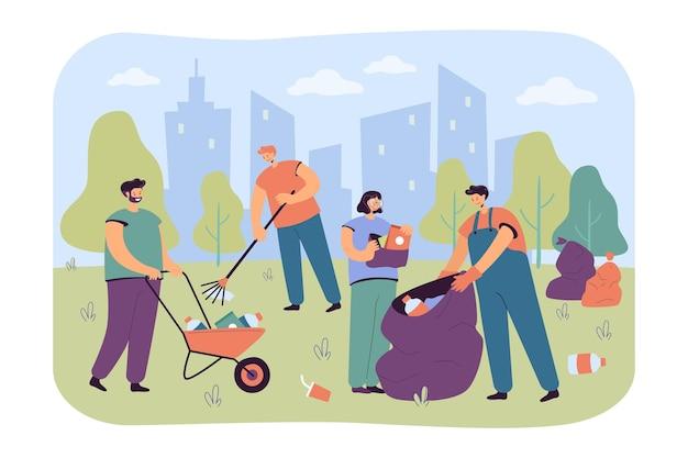 Gelukkige vrijwilligers die stadspark schoonmaken van huisvuil geïsoleerde vlakke illustratie