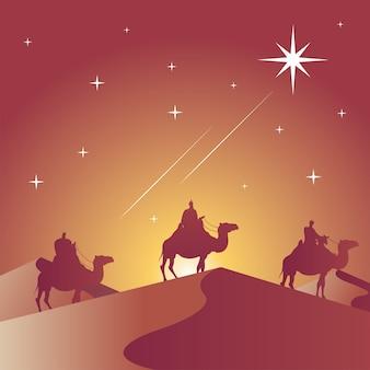 Gelukkige vrolijke kerstkaart met bijbelse magiërs in ontwerp van de de scène het vectorillustratie van het kameelensilhouet