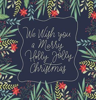 Gelukkige vrolijke kerstkaart met bloemendecoratie en kalligrafie