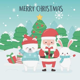 Gelukkige vrolijke kerstkaart met de kerstman en dieren