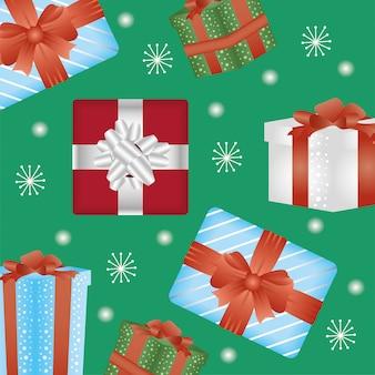 Gelukkige vrolijke kerstkaart met geschenken patroon