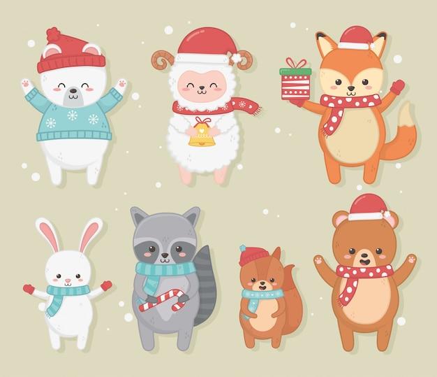 Gelukkige vrolijke kerstkaart met groep dieren