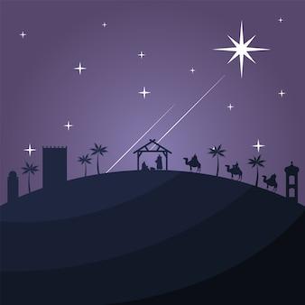 Gelukkige vrolijke kerstkaart met heilige familie in stal en bijbelse magiërs in kamelen silhouet vector