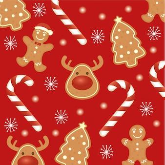 Gelukkige vrolijke kerstkaart met het patroon van gemberkoekjes