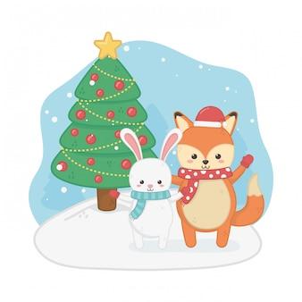 Gelukkige vrolijke kerstkaart met vos en konijn