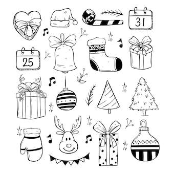 Gelukkige vrolijke kerstmis leuke pictogrammeninzameling met krabbel of hand getrokken stijl
