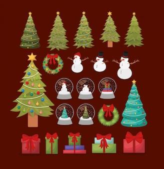 Gelukkige vrolijke kerstmis vastgestelde pictogrammen