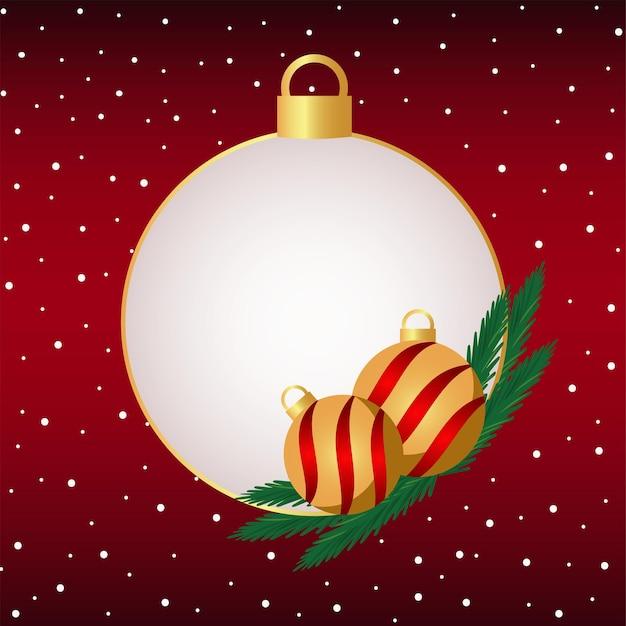 Gelukkige vrolijke kerstmisbal decoratief op rode achtergrond