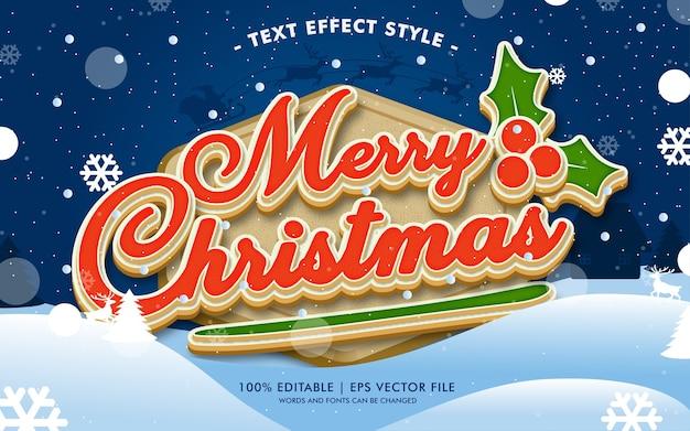 Gelukkige vrolijke kerstmistekst effectenstijl Premium Vector