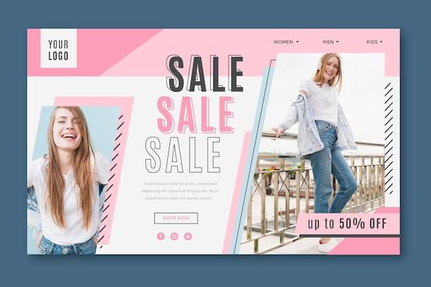Gelukkige vrouw bestemmingspagina mode verkoop