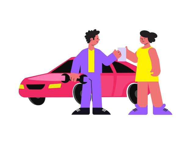 Gelukkige vrouw chauffeur in gesprek met monteur flat
