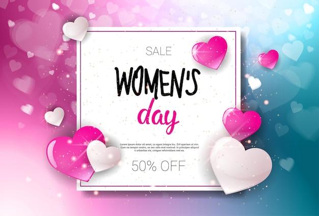 Gelukkige vrouw dag verkoop vakantie winkelen promotie coupon ontwerp korting poster achtergrond