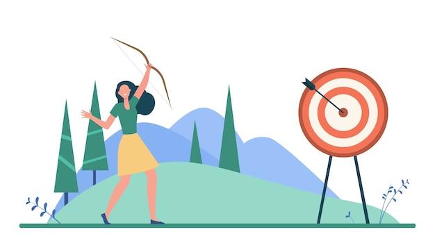 Gelukkige vrouw die doel of doel bereikt. pijl, prestatie, doel platte vectorillustratie. targeten en zakendoen