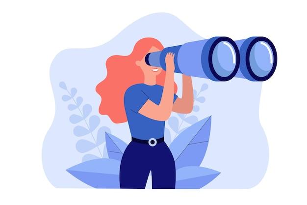 Gelukkige vrouw die enorme toeristen verrekijker houdt en ver vooruit kijkt