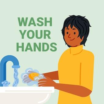 Gelukkige vrouw die haar handen binnen wast