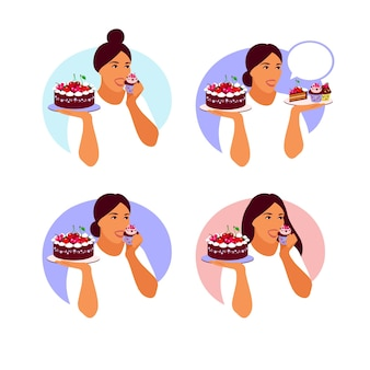 Gelukkige vrouw die heerlijke cupcake gaat eten. platte cartoon vectorillustratie geïsoleerd
