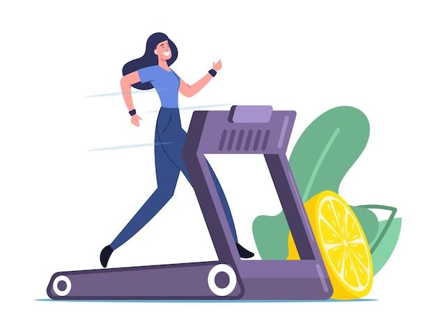 Gelukkige vrouw draait op loopband met citroen in de buurt. atletisch meisje oefent op loopband om slank te zijn