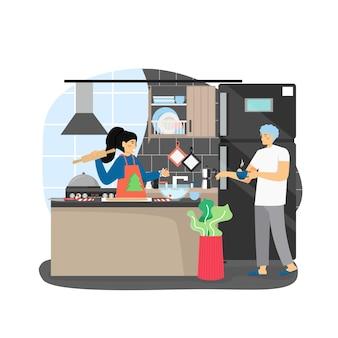 Gelukkige vrouw in schort met fir tree feestelijk diner koken, traditionele kerstkoekjes maken in de keuken