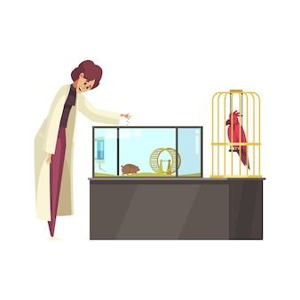 Gelukkige vrouw in uniform voederen van huisdieren cavia en papegaai cartoon