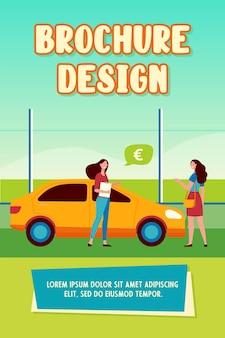 Gelukkige vrouw kopen nieuwe auto in auto winkel brochure sjabloon