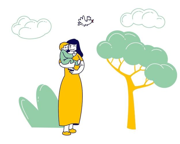Gelukkige vrouw lopen met kind in stadspark. cartoon vlakke afbeelding