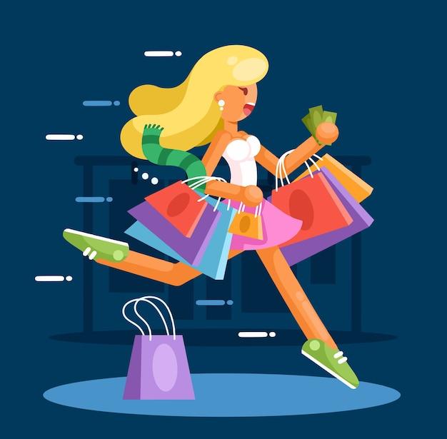 Gelukkige vrouw met boodschappentassen haast zich om aankopen te doen.