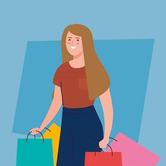Gelukkige vrouw met boodschappentassen, jonge vrouw met boodschappentassen