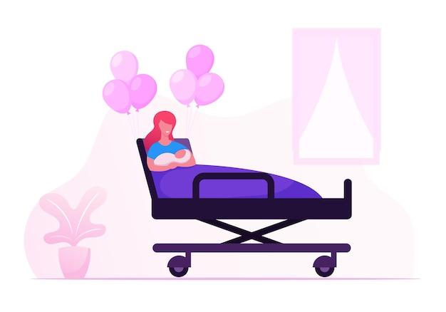 Gelukkige vrouw met pasgeboren baby op handen in kamer van kraamkliniek. cartoon vlakke afbeelding