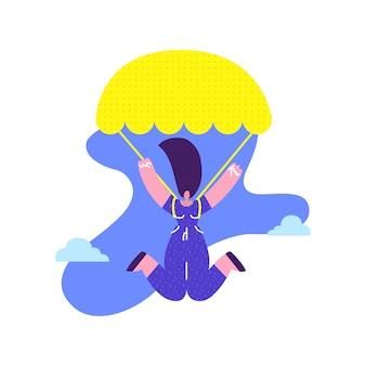 Gelukkige vrouw sky diving