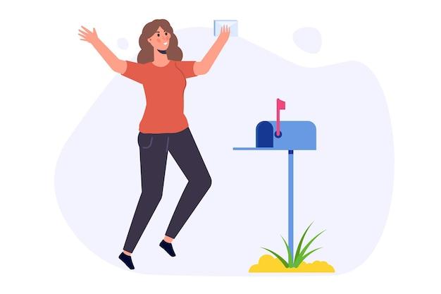 Gelukkige vrouw staat in de buurt van de mailbox en kreeg een brief. vector illustratie