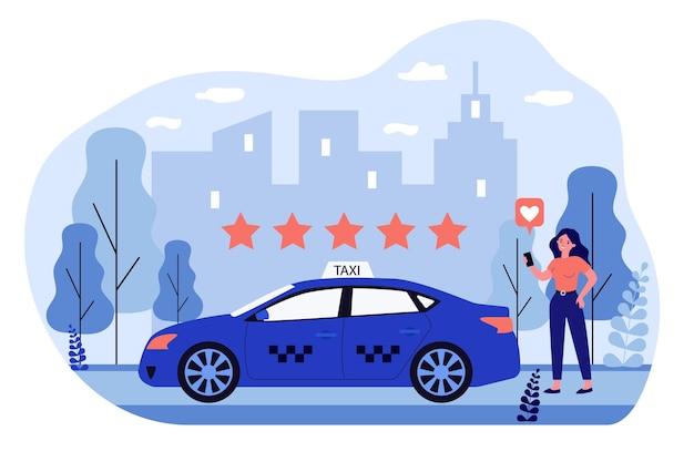 Gelukkige vrouw taxiservice in app beoordelen. auto, ster, waardering platte vectorillustratie