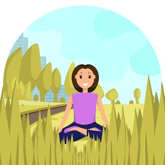 Gelukkige vrouw zitten lotus positie stadspark