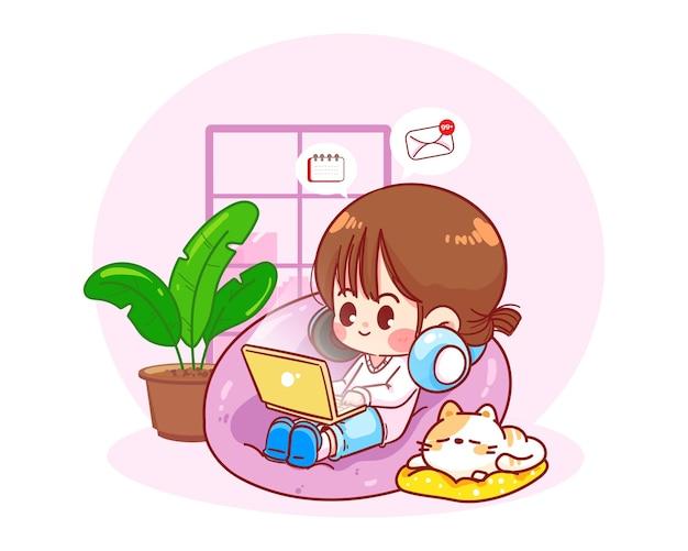 Gelukkige vrouw zittend met laptop op zitzak stoel, werk vanuit huis karakter hand getekend cartoon kunst illustratie