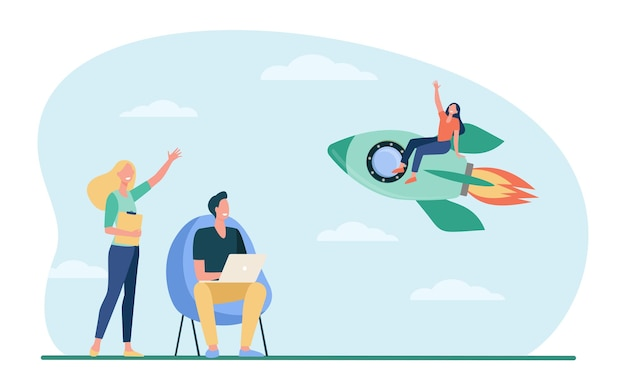 Gelukkige vrouw zittend op een raket en zwaaiende collega's