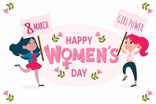 Gelukkige vrouwen dag meisje macht hand getrokken