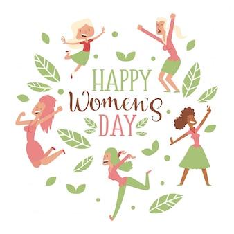 Gelukkige vrouwen dag typografie kaart, geïsoleerde vrouwen stripfiguren