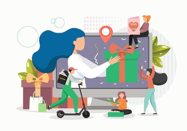 Gelukkige vrouwen die geschenken naar vrienden sturen, van mensen online houden en een koerier die ze bij de ontvanger aflevert Premium Vector