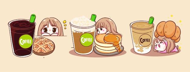 Gelukkige vrouwen die koffiekopjes en heerlijke bakkerij drinken die op ochtendachtergrond met ontbijtdessert of drankkopconcept worden geïsoleerd.