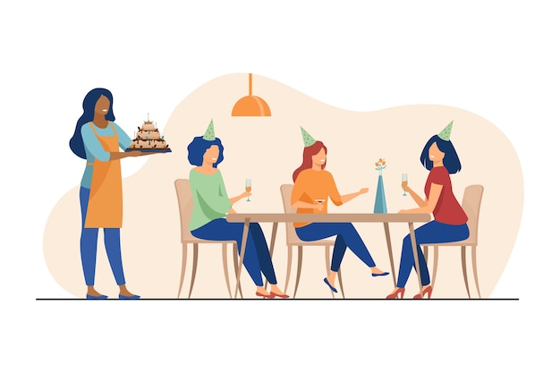 Gelukkige vrouwen die verjaardag vieren en alcohol drinken. vriend, cake, glas platte vectorillustratie. vakantie en feest