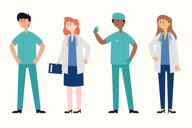 Gelukkige vrouwen en mannen artsen in uniformen