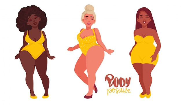 Gelukkige vrouwen met verschillende huidskleur gekleed in zwempakken.