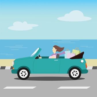 Gelukkige vrouwen na het winkelen gratis rijden met groene auto zachte kleur