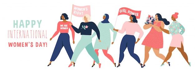 Gelukkige vrouwen of meisjes die zich en handen bevinden verenigen.