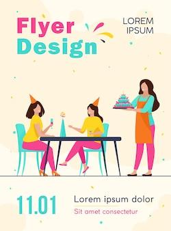 Gelukkige vrouwen vieren verjaardag en drinken alcohol folder sjabloon