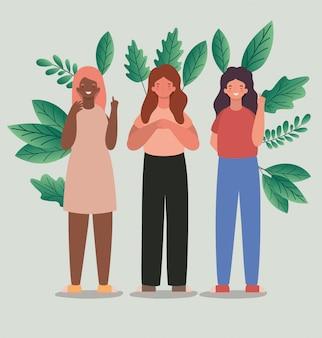 Gelukkige vrouwenbeeldverhalen met bladeren